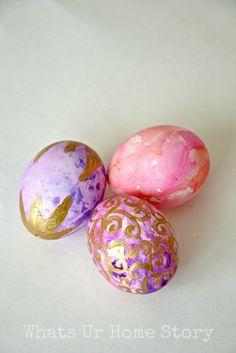 Painted Easter eggs, Watercolor Easter Eggs Tutorial  www.whatsurhomestory.com