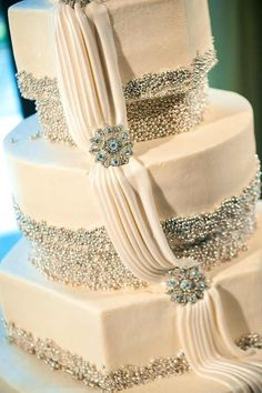 Modern Wedding Cakes ivory and silver