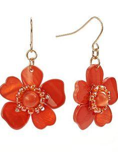 Croft and Barrow Bead Flower Drop Earrings