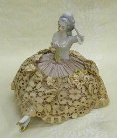 gold slipper, pincushion half, antiqu half, vintag pincushion, pincushion doll