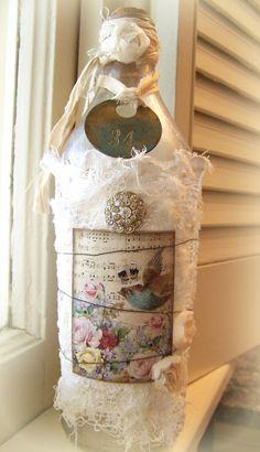 Altered Bottle Vintage Bottle Shabby White Bottle