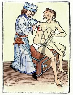 PLAGUE PHYSICIAN, 1482. A physician lancing a plague-caused bubo, which probably increased the likelihood of spreading the disease. Colour German woodcut, 1482.