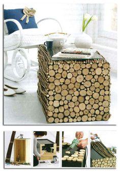 DIY tree branch table