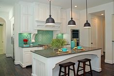 turquoise + bright flower turquois kitchen, back splashes, color, hous, pendant lights, subway tiles, white cabinets, island, white kitchens