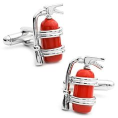Red Enamel Metal Fire Extinguisher Cufflinks  | Shared by LION