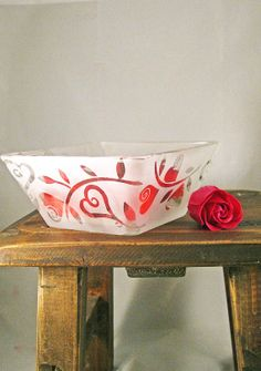 Hearts Square Bowl Etched Glass Ready to Ship by BeedazzledDesigns, $32.00-Very pretty!