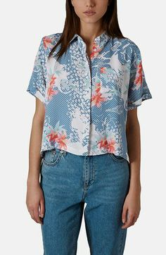 Topshop 'Zoe' Lily Print Shirt available at #Nordstrom