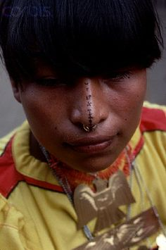 Panama | A Cunah Indian with a pierced and decorated nose | ©Adam Woolfitt