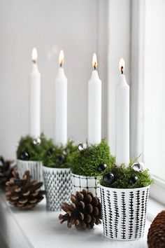candle deco white & black