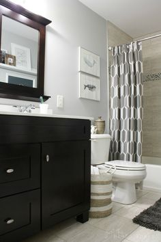 Bathroom Makeover that appeals to kids yet is grown-up enough for guests!