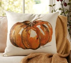 Painted Pumpkin Patch Pillow Cover, 20""