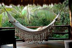 Crochet hammock hanging on your porch at Viceroy Riviera Maya.
