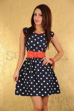 Rochie LaDonna Paradise Love DarkBlue polka dot, dress yoself, springsumm style, virtual closet, rochi ladonna
