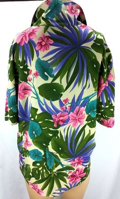 Hawaiian Floral Short Sleeve 100% Silk Top Blouse Washable Size M 10 12