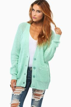 Mint cardigan The ripped jeans are awful, but the cardigan is nice sweater, mint green, mint cardigan, rip jean