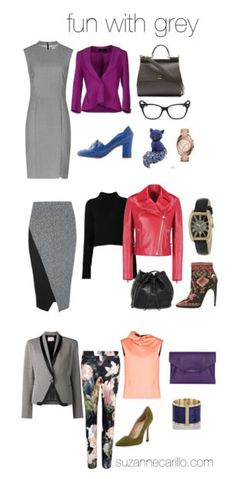 How to wear gray –  color combinations and ensembles from Suzanne Carillo   40plusstyle.com
