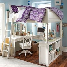 Very dreamy bedframe and office space.
