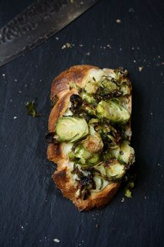 Feeding Friends: Roasted Brussels Sprouts and Gruyere Toasts.
