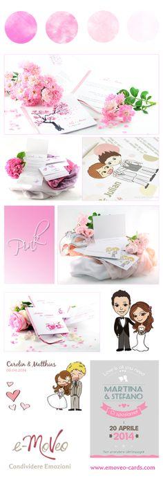 Wedding Invitation Cards by e-MoVeo Cards.  Hochzeit Pink - Matrimonio in rosa www.emoveo-cards.com