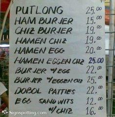 Food Menu. Funny English Signs, Funny Pinoy, Funny Filipino Pictures, Tagalog jokes, Pinoy Humor pinoy jokes #pinoy #pinay #Philippines #funny #pinoyjoke