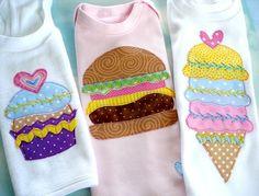 Applique Designs - Fun Food - Cupcake, Strawberry, Cheeseburger and Ice Cream Cone - PDF ePattern via Etsy
