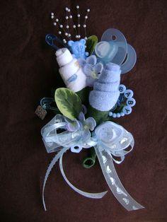 Baby Shower Corsage / Baby Boy Washcloth Corsage