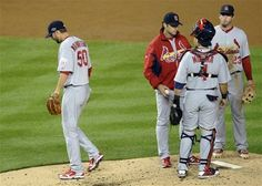 Game 5 of the NLDS- Waino is taken out of the game  10-12-12