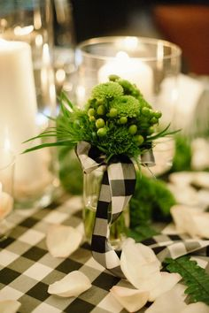 Black and white plaid table decor - perfect for a winter wedding.