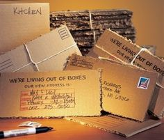 This Moving Announcement is cute - cut up your boxes and make postcards