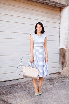 midi skirts, full skirts, kendieveryday, outfit, the dress, sweet dress, stripe, crop top