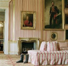 glorious rose stripes in this English room