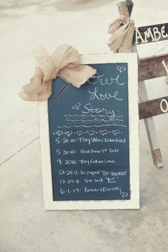 Burlap bow on a chalkboard {Photo by Melissa Copeland via Project Wedding}