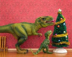 Christmas, T. Rex dinosaur, red and green festive wall art - The Holly And The T. Rex 8 x 10