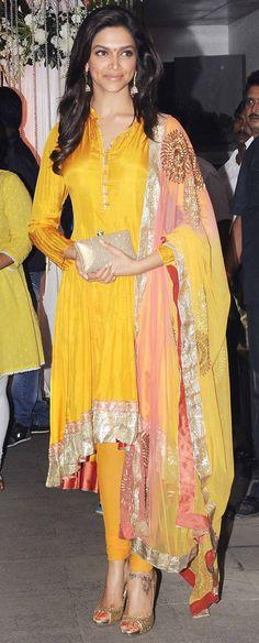 #DeepikaPadukone in a yellow salwar kameez. #salwaar kameez #chudidar #chudidar kameez #anarkali #anarkali suits #dress #indian #outfit  #shaadi #bridal #fashion #style #desi #designer #wedding #gorgeous #beautiful