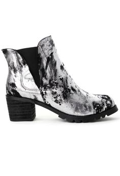 Matte Leather Ankle Boot in Metalic Silver