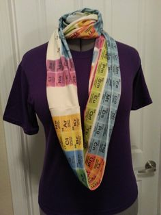 Periodic table infinity knit scarf