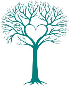 Teal Heart Tree Clip Art