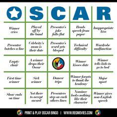Oscar Bingo! Card no. 3