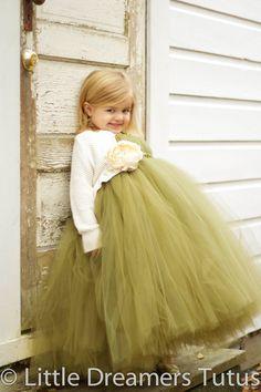 Willow Green Flower Girl Tutu Dress  NB thru by littledreamersinc