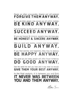 words of wisdom and inspiration from Mother Teresa #quotes