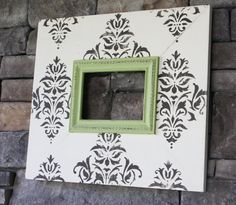 Distressed Picture Frame  5x7 Brown Damask