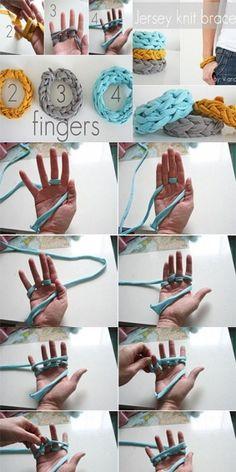 idea, crafti, bracelets, crochet, fingers, knit bracelet, jewelri, diy, finger knit