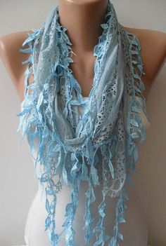 Light Blue Lace Scarf with Trim Edge - Summer Design - New