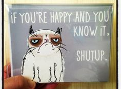 Grumpy Cat Meme Card with Envelope Blank inside by BuckAndLibby, $4.00