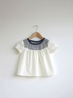 ivory cotton blouse with Liberty detail by SwallowsReturn on Etsy, $28.00