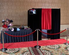 Photobooth set up at the wedding reception, complete with props table...such a fun idea!