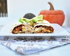 Pumpkin Enchiladas with a cashew cream sauce.  This meal is so filling and perfect for fall.  Vegan and can be gluten free if you use GF tortillas.