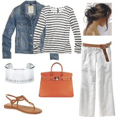 Fun for spring... style, bag, white pants, summer outfits, jean jackets, beach, spring outfits, stripe, springi outfit