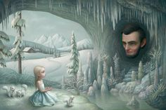 "Scene from Mark Ryden's ""The Snow Yak Show"" book, available at Loakal. http://www.ebxloakal.com/collections/art-books/products/the-snow-yak-show-mark-ryden  #markryden #snowyak #popsurrealism #painting"