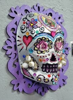 The Virgin Rose - Day of the Dead skull mask mounted wall piece